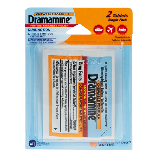 Dramamine Motion Sickness Relief, 2 Tablets