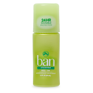 Ban Unscented Roll-On Deodorant, 1.5 oz.