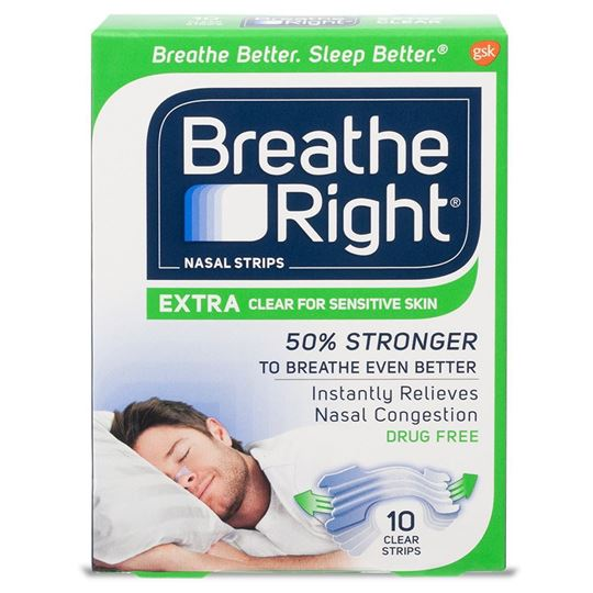 Breathe Right Extra Clear Nasal Strips, 10 Strips