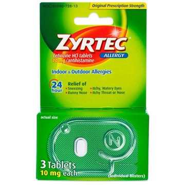 Zyrtec Allergy Relief Tablets, 3 Tablets