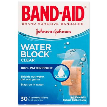 Band-Aid Water Block Clear Bandages, 30 Bandages