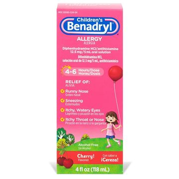 Children's Benadryl Allergy Medicine, Cherry, 4.0 fl. oz.