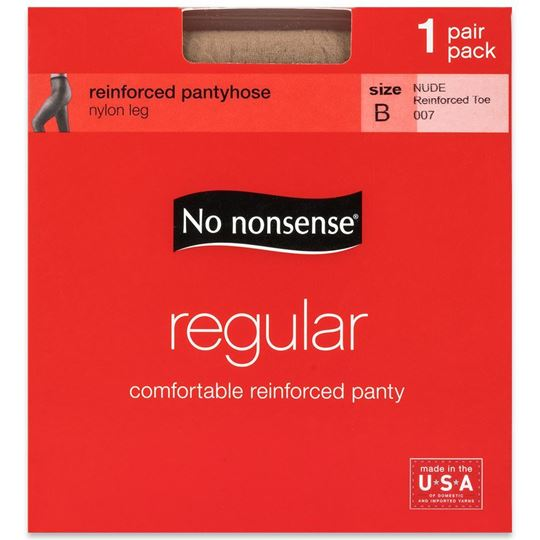 No Nonsense Regular Pantyhose, Nude, Size B