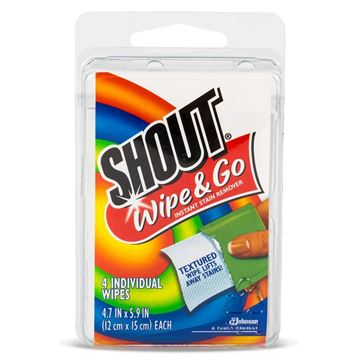 Shout Wipe & Go Stain Remover, 4 Wipes