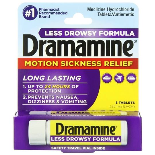 Dramamine Motion Sickness Relief, Less Drowsy Formula, 8 Tablets